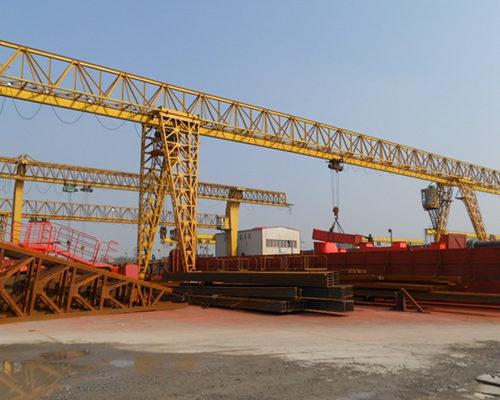 Ellsen truss type single girder gantry crane with cantilever for sale